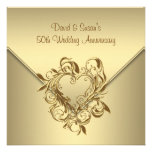 Gold Heart Elegant Gold 50th Wedding Anniversary Personalized Invites