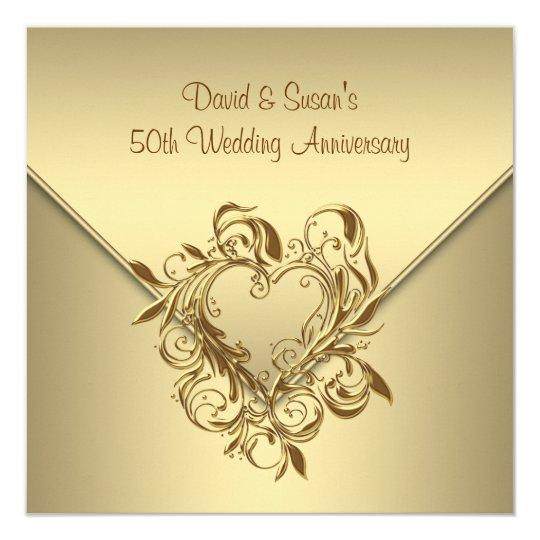gold heart elegant gold 50th wedding anniversary invitation