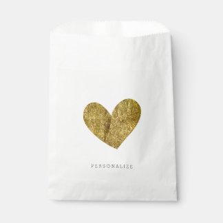Gold Heart Favor Bag