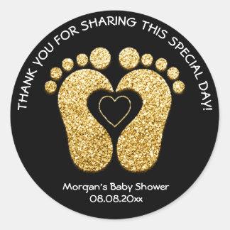Gold Heart Feet Baby Shower Favor Thank You Black Classic Round Sticker