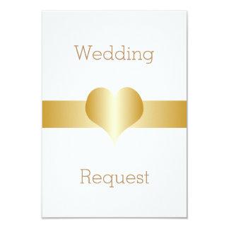 Gold Heart Flower Girl Request Card