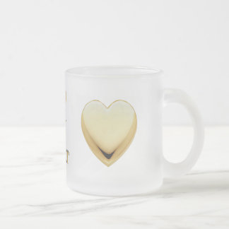 Gold Heart Frosted Love Quote Mug