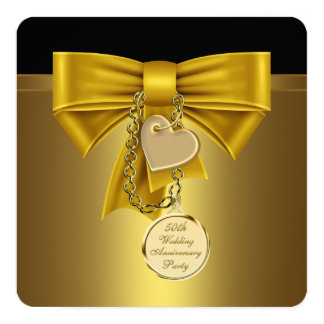 Gold Heart Gold 50th Wedding Anniversary Party Card