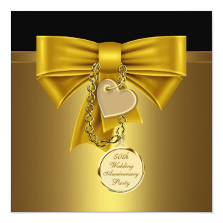 Gold Heart Gold 50th Wedding Anniversary Party Custom Invites