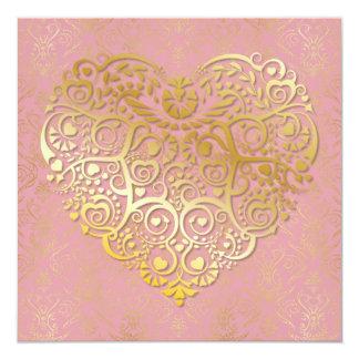 Gold Heart & Gold Damask Valentine Card