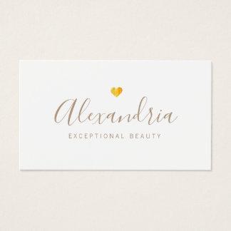 Gold Heart  Handwritten Script Calligraphy Business Card