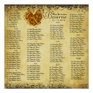 Gold Heart Leaf Damask Wedding Seating Chart Poster