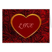 Gold Heart Love Frame with Red Fabric Card