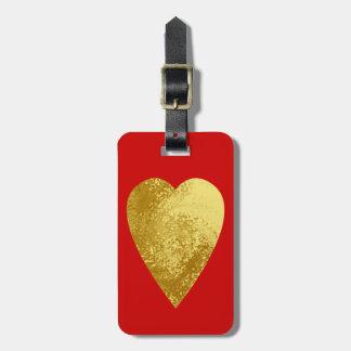 gold heart bag tag