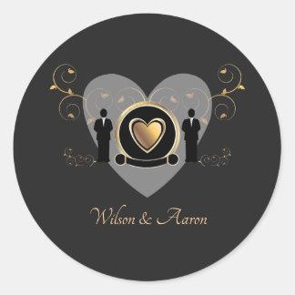 Gold Heart Male Wedding   Sticker