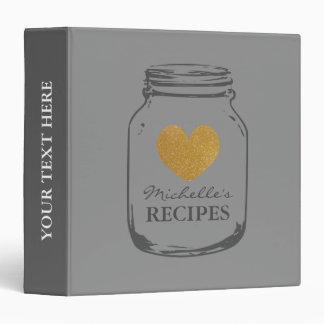 Gold heart mason jar kitchen recipe binder book