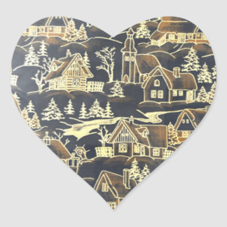 Gold Heart Merry Antique Vintage Holiday Village Sticker