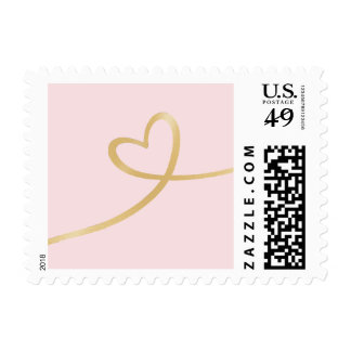 Gold Heart On Pink Postage Stamp