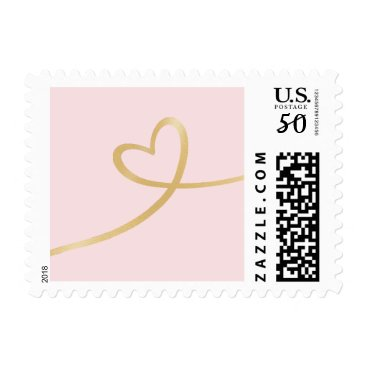 Valentines Themed Gold Heart On Pink Postage Stamp