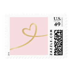 Gold Heart On Pink Postage Stamp at Zazzle
