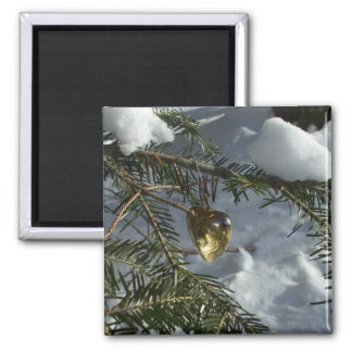 Gold Heart on Snow Covered Pine Branch Magnet