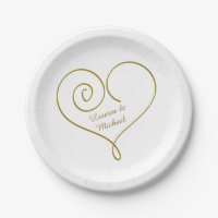 Gold Heart Personalized Wedding Paper Plate