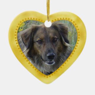 Gold Heart Pet Photo Template Ceramic Ornament