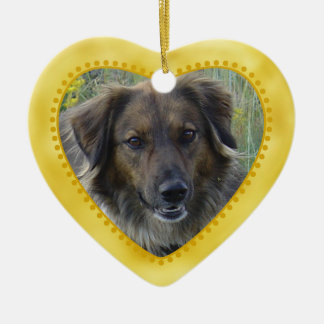 Gold Heart Pet Photo Template Double-Sided Heart Ceramic Christmas Ornament