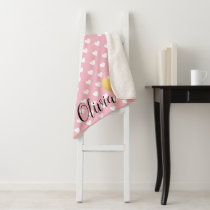 Gold Heart Pink and White Pattern Monogram Sherpa Blanket