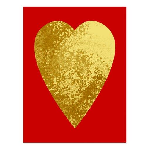 gold heart postcard