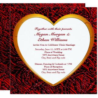 Gold Heart & Red Fabric Wedding Invitation Card