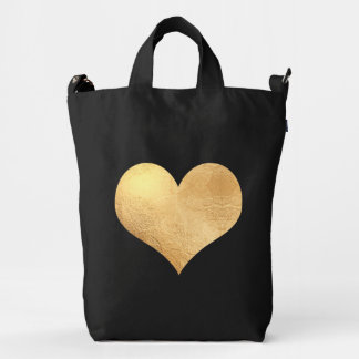 Gold Heart, Red Heart on Reversed Duck Canvas Bag