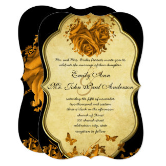 Gold Heart Roses & Butterflies Wedding Invitation