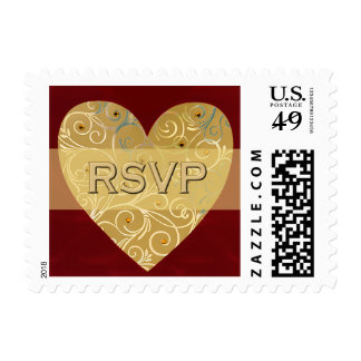 Gold Heart RSVP stamps