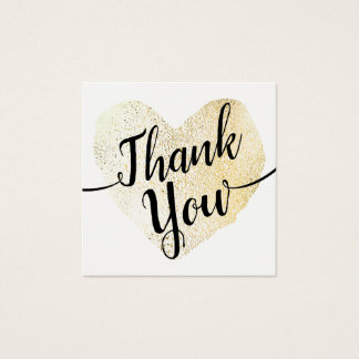Gold Heart Script Calligraphy Thank You Square Business Card