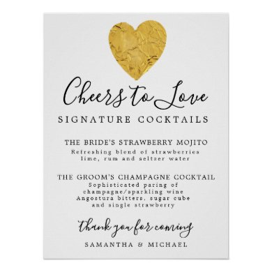 Gold Heart Signature Cocktails Wedding Bar Sign