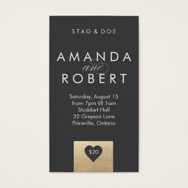 Valentines Themed Gold Heart Stag & Doe Ticket, Grey Business Card