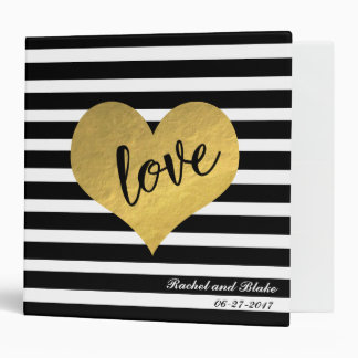 Gold Heart Stripes Love 3 Ring Binder