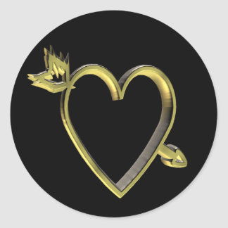Gold Heart T-shirts and Gifts Round Sticker
