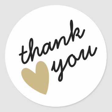 DancingPelican Gold Heart Thank You Classic Round Sticker