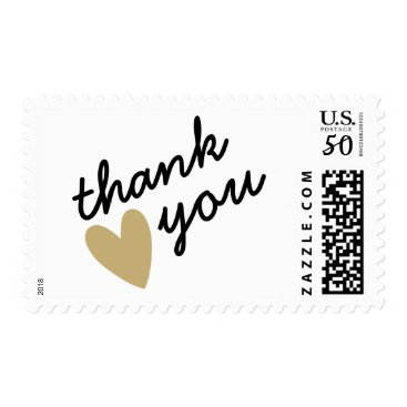 DancingPelican Gold Heart Thank You Postage