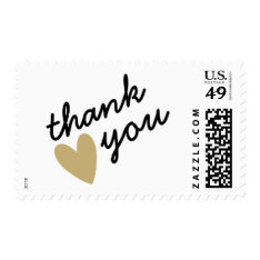 Gold Heart Thank You Postage at Zazzle