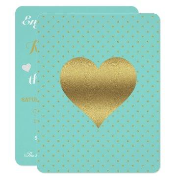 McTiffany Tiffany Aqua Gold Heart Tiffany Teal Blue Party Invitation