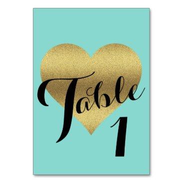 McTiffany Tiffany Aqua Gold Heart Tiffany Teal Blue Party Table Cards