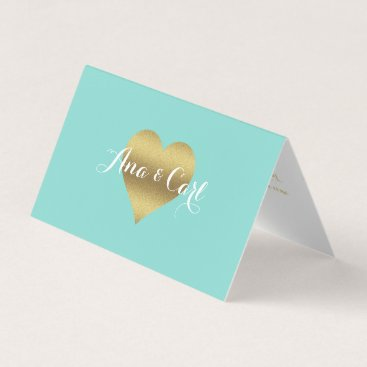 McTiffany Tiffany Aqua Gold Heart Tiffany Teal Blue Thank You Place Cards