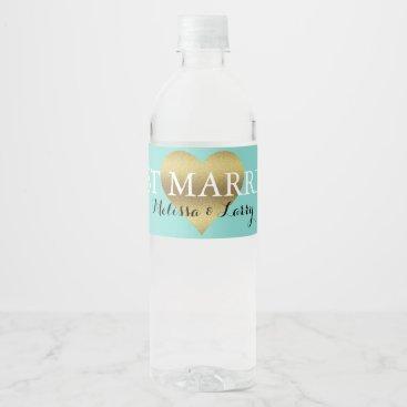 McTiffany Tiffany Aqua Gold Heart Tiffany Teal Blue Water Bottle Labels
