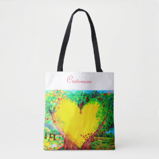 gold heart tote bag