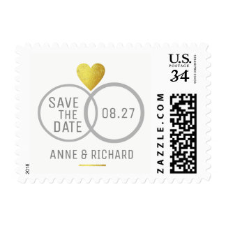 gold heart & two wedding rings personalized love postage