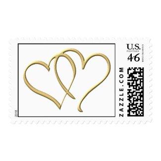 Gold Heart wedding postage stamp