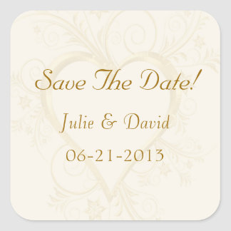 Gold Heart Wedding Save The Date Square Sticker