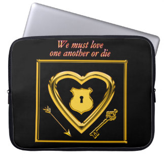 Gold heart with arrows and locks for love laptop sleeve