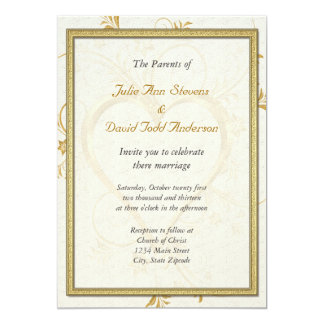 Gold Heart With Frame Wedding Card
