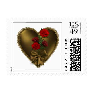 Gold Heart with red roses Postage