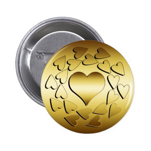 GOLD HEARTS PINBACK BUTTONS