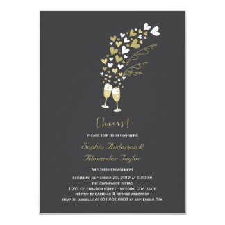 Gold Hearts Champagne Cheers Engagement Invite Invites